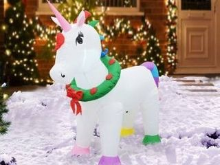 Multi   Polyester  4FT Inflatable unicorn   large  tested works