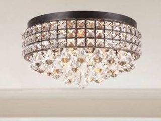 Silver Orchid Taylor Iron Shade Crystal Flush Mount Chandelier Retail 148 99