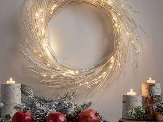 Artificial Wreath  Reese 24  Pre lit Warm White lED Christmas Wreath   Dove Glitter