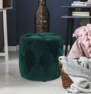Green  Adeco Tufted Round Ottoman   Upholstered Ottoman Footstool Foot Rest