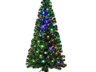 6 Foot   Green  Aritifical Pre lit Fiber Optic lED Holiday Christmas Tree  28 lED lights  230 Tips  Stand   6 Foot Retail 91 99  tested works  star does not work