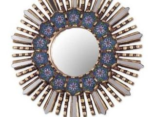 Handmade Cuzco Blue Wood and Reverse Painted Glass Wall Mirror  Peru  Retail 76 98