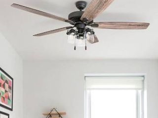 60   Bronze   Hardwired  The Gray Barn Manderston 60 inch Coastal Indoor lED Ceiling Fan with Pull Chains 5 Reversible Blades   60 Retail 188 49