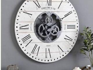 Gray  FirsTime   Co  Shiplap Farmhouse Gears Wall Clock   27 x 2 x 27 in Retail 98 99