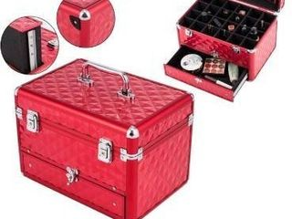 Red  Beauty Vanity Makeup Case with Mirror Portable Cosmetic Holder Red