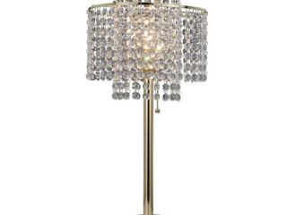 2 Tier Holly Glam Gold Table lamp with USB Port Retail 75 48