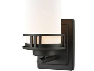 Oil Rubbed Bronze  1 Up light Bath Sconce With Oil Rubbed Bronze Finish With White Glass Made Of Glass Metal   Bathroom
