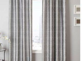 55 x 120   Gun Metal   silver platinium   Softline Elton Square Grommet Top Curtain Panel