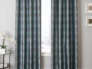 55 x 120   Gun Metal   Blue Chocolate  Softline Elton Square Grommet Top Curtain Panel