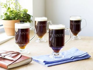 Clear  Irish Glass 10 ounce Coffee Mugs  Pack of 4    10 oz