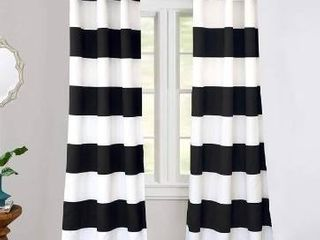 42  Width X 96   length   Black  DriftAway Mia Stripe Room Darkening Grommet Top Window Curtain Panel Pair