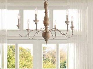 Handmade farmhouse distressed wood 5 light chandelier