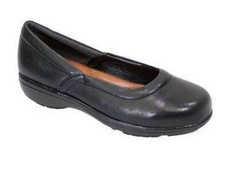 FIC Peerage womenas Vicky black Nappa black leather shoes size 11e