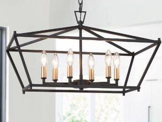Modern Farmhouse 6 lights linear Island Chandelier Rectangle Frame Hanging Ceiling lighting   l 23 6  x W 12 6 x H 14 5  Retail 198 49