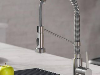 KRAUS Boldena Single Handle 18 Inch Commercial Kitchen Faucet with Dual Function Pull Down Sprayhead in Chrome Finish