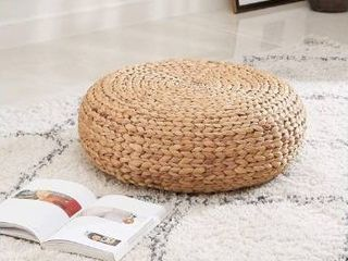 Amelia 16 Inch Hand Woven Water Hyacinth low Seating Stool