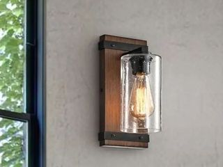 Antique Black  Anastasia Antique Black Metal and Natural Wood Base Glass Wall Sconce