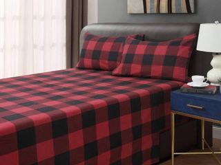 Queen Red Black   Queen  Dresden Buffalo Plaid 4 piece Cotton Flannel Sheet Set