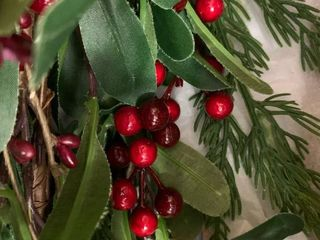 Artificial Garland   6 Foot  Valdosta Indoor 6  Artificial Olive leaf Garland with Berries by Christopher Knight Home   Green   Red