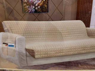 Sofa  Cream Taupe  Elegant Comfort Quilted Reversible Sofa Protector