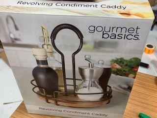 Gourmet Basics by Mikasa 5208928 Handover Acacia Wood Rotating Condiment Caddy  Antique Black
