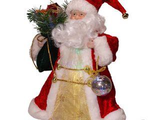 Kurt Adler 12 Inch CUl Fiber Optic lED Santa Treetop   12