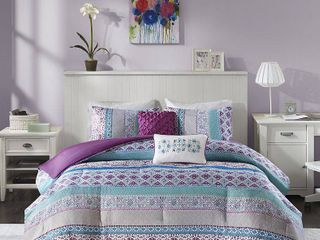 Intelligent Design Adley Purple Printed Comforter Set