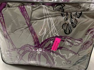 California King  Silver Orchid Harlowe Purple Complete Comforter and Cotton Sheet Set