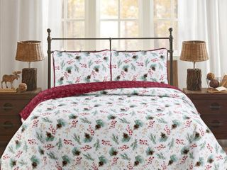 King  Berry Pinecone 3 piece Quilt Set
