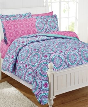 Twin   Pink Turquoise  Thalia 11 piece Medallion Bed in a Bag with Extra Sheet Set