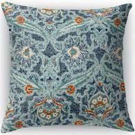 16X16  Kavka Designs blue  orange blue charlotte accent pillow with insert