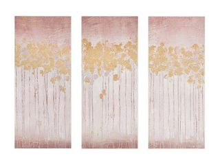Madison Park Twilight Forest Blush Gel Coated Canvas with Gold Foil 3 Piece Set   Pink  Retail 89 49
