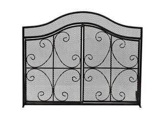 Black Gold Finish  Pendleton Modern Three Panel Fireplace screen with Door by Christopher Knight Home  Retail 144 49