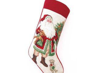 Null lynn Haney Teddy Bear Santa Needlepoint Stocking