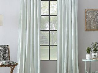 52 x 84 Seafoam Archaeo Washed Cotton Twist Tab Single Curtain Panel