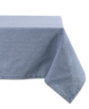 Design Imports Blue Solid Chambray Kitchen Tablecloth  84 Inch Wide x 60 Inch long