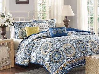 Full  Queen Madison Park Moraga Blue Boho Coverlet Set Retail 99 98
