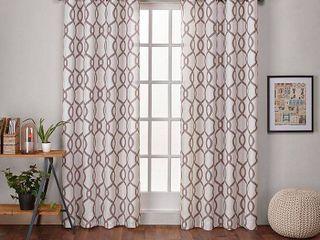 54  w x 108  l Natural ATI Home Kochi linen Blend Window Grommet Top Curtain Panel Pair