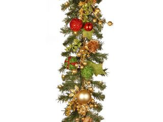 Null  72  Decorated Christmas Garland with Battery Operated lED lights  Retail 94 99