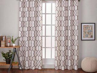 54  w x 84  l Natural ATI Home Kochi linen Blend Window Grommet Top Curtain Panel Pair