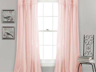 0x84 Blush lush Decor lydia Ruffle Window Curtain Panel Pair