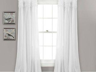 40x95 White lush Decor lydia Ruffle Window Curtain Panel Pair