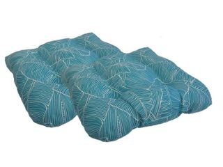 Turquoise Indoor  Outdoor Island Palms Seat Cushions  Set of 2