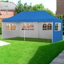 Blue  10X20 Pop Up Gazebo Canopy Tent with Sidewalls   Wheeled Carry Bag Portable Patio Canopy Shelter Commercial Instant  Retail 289 99