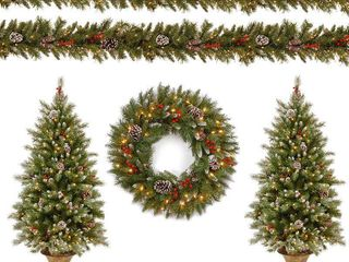 Null  National Tree Company Pre lit Decorative Frosted Berry Entrance Tree  Wreath and Garland Assortment   N A  Retail 202 99
