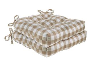 Taupe  Buffalo Check Tufted Chair Seat Cushions   Set of Two