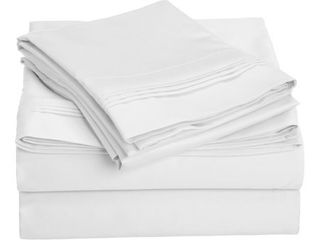 Full   White  Superior Egyptian Cotton 1000 Thread Count Solid Deep Pocket Bed Sheet Set  Retail 132 49