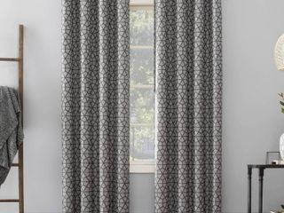 Pair of 95 x52  Burke Twill Mosaic Extreme Total Blackout Grommet Top Curtain Charcoal Gray   Sun Zero