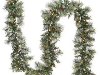 Null  9 ft  Golden Bristle Garland with Clear lights