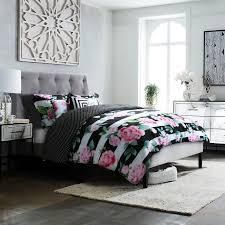 King   Cal King King  Studio8 brand   lOVE Printed 6 Piece Comforter Set   hand painted floral and stripe in pink  green  white and bold black  Retail 99 99